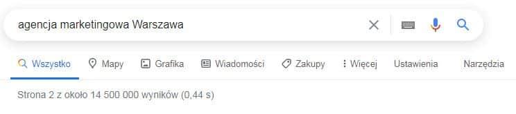 agencja marketingowa Warszawa - Wyniki Google
