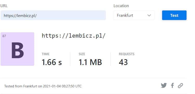 Czas ładowania strony przez narzędzie KeyCDN Website Speed