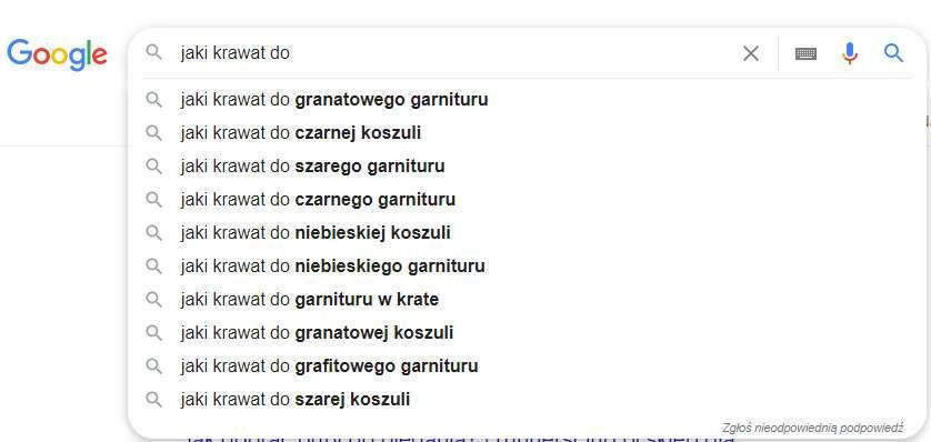 Wyszukiwarka Google pomaga znaleźć dobre słowa kluczowe